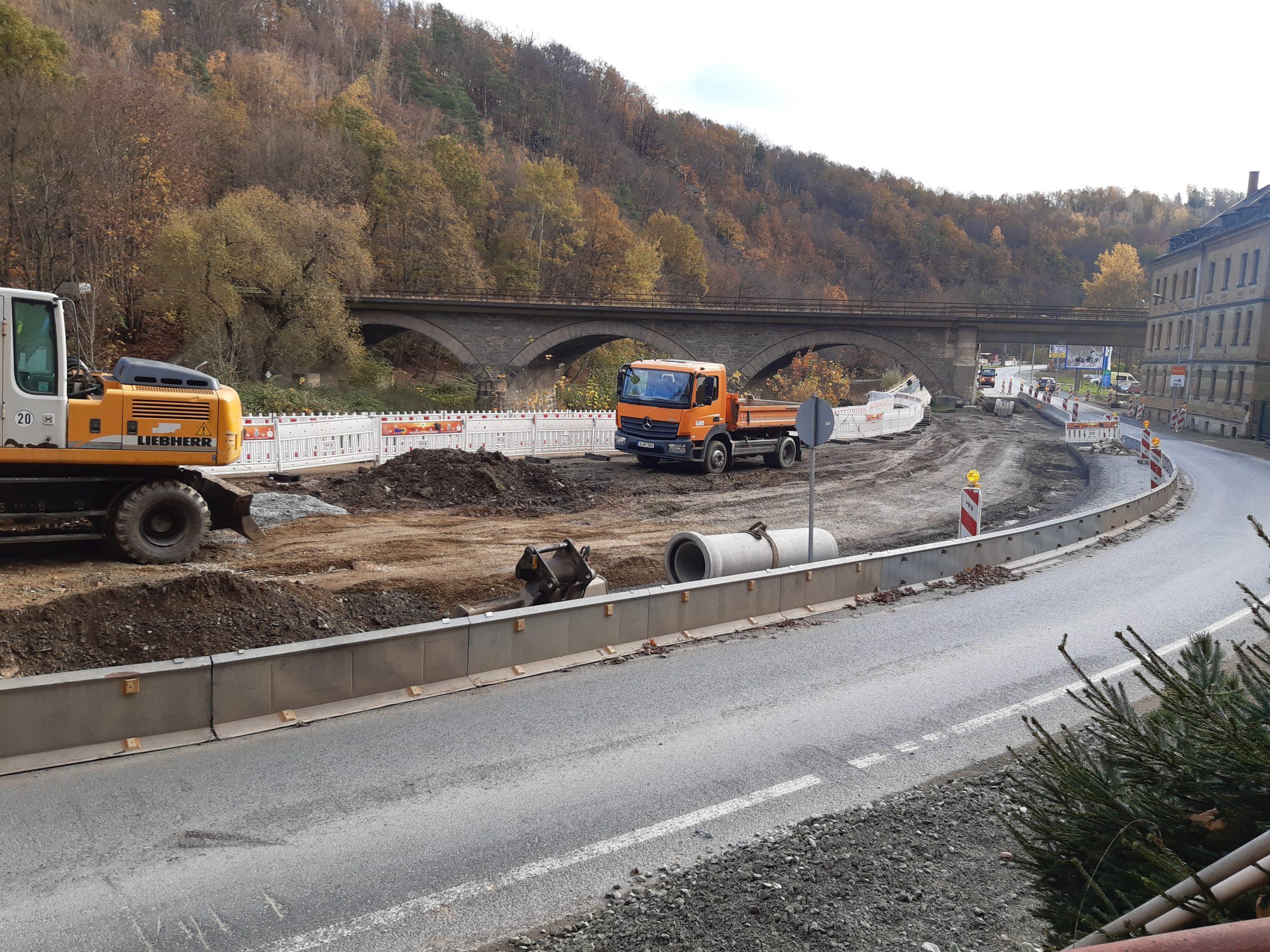 Bauabschnitt 3 zwischen Ortseingang Greiz-Rothenthal und Bahnbrücke begonnen